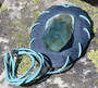 Riipus akvamariinikide nahkasomistein, 75x55mm sininen, 60cm, Uniikki!