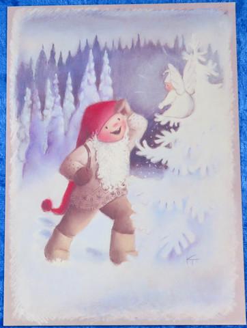 Joulukortti tonttu ja enkeli lumisessa metsässä