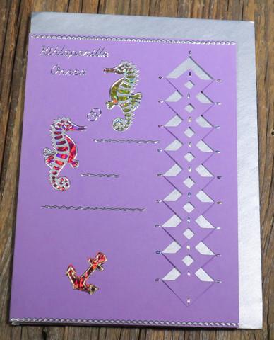 Postikortti ja kirjekuori: Kihlaparille onnea, merihevoset ja ankkuri (kih1)