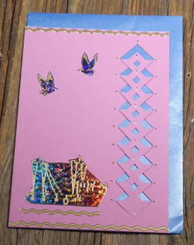 Postikortti ja kirjekuori: Laiva ja linnut, kuvioleikkaus (meri1)