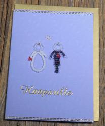 Postikortti ja kirjekuori: Hääparille, helmihääpari hopealangoin punottu (hää11)