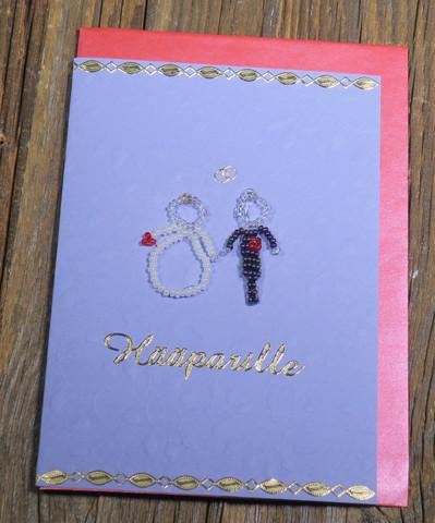 Postikortti ja kirjekuori: Hääparille, helmihääpari hopealangoin punottu (hää12)