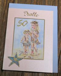 Postikortti ja kirjekuori: Onnea isälle 50v, Keijutytöt (isä50v)
