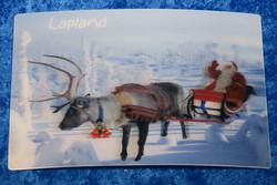 3D-postikortti poro ja joulupukki, luminen metsä, Lapland 145x95mm
