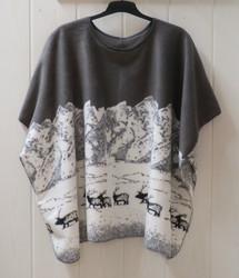 Poncho: Tunturiporot, harmaa fleece 110x150cm