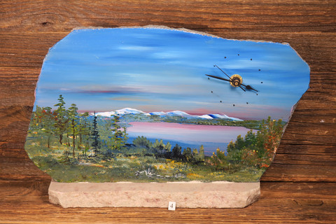 Pöytäkello maisemamaalaus, kivikello Martt Kumpulainen nro4