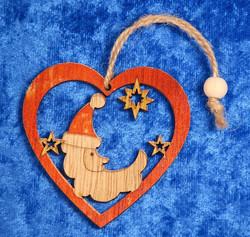 Joulukoriste: joulupukki  ja tähtiä sydämessä, puuta