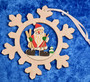 Joulukoriste: joulupukki lumihiutaleessa, puuta