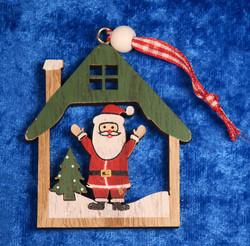 Joulukoriste: joulupukki mökissä, vihreä, puuta