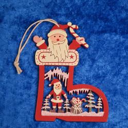 Joulukoriste: joulupukki ja saapas, puuta