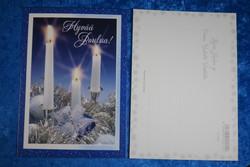 Joulukortti 3 kynttilää, Hyvää joulua, sinivalkoinen