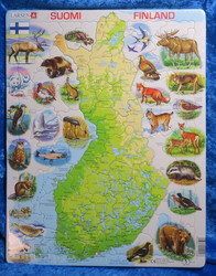 Palapeli Suomen kartta ja eläimet, 78 palaa, 36x28,5cm