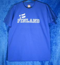 T-paita Finland, liehuva suomen lippu, royal sininen suomipaita
