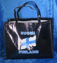 Ostoskassi suomenlippu Suomi Finland, musta iso