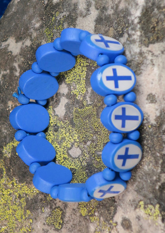 Rannekoru Finland-suomenlippu, sinivalkoinen, joustavassa kuminauhassa