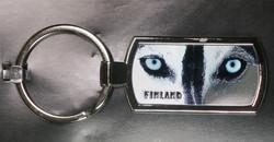 Avaimenperä huskyn silmät, Finland, metallia