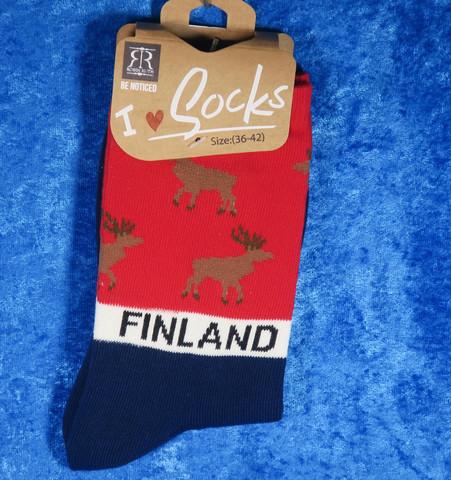 Nilkkasukat PoroFinland, koko 36-42 tummansininen-punainen