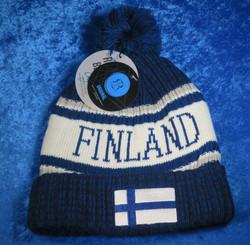 Finland pipo, sinivalkoinen, suomenlippu, tupsu