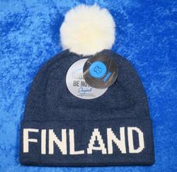 Finland pipo, siniharmaa, valkoinen karvatupsu