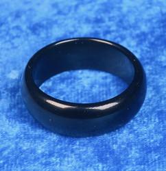 Akaattisormus 24mm musta onyksi kivisormus, leveys 10mm