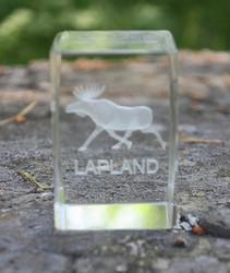 Kristallikuutio 6cm hirvi LAPLAND