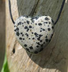 Kaulakoru dalmatianjaspis sydän 25mm porattu riipus