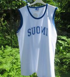 T-paita valkoinen hihaton SUOMI paita, siniset tereet