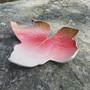 Lautanen Lehti punavalkoinen 20cm, keramiikkaa