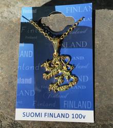Riipus Suomileijona kullan värinen 5cm, lukollinen ketju 40cm