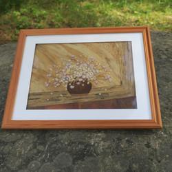 Taulu kukkamaljakko ikkunalla 28x22cm lasitettu