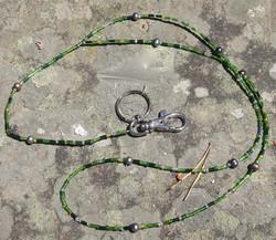 Avainnauha kaulaan vihreä 70cm+20cm, avainrengas ja karbiinihaka