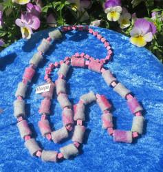 Helmet huopa pinkki, harmaa ja synteettinen vaaleanpunainen kivi 70cm