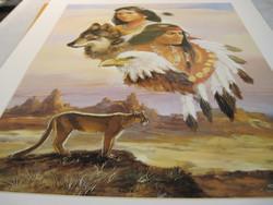 Juliste intiaanit nuoripari ja susi, kotka ja leijona 40x50cm