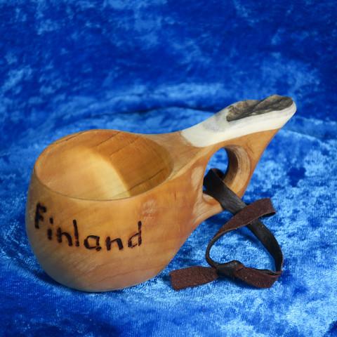 Kuksa sarvikahvalla 1-sorminen koivunpahkaa, FINLAND suuaukko 5cm