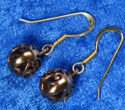 Korvakorut pronssi pitsipallo 8mm koukut kullattua 925-hopeaa