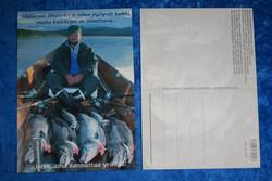 Postikortti kalansaalis ja mies veneessä