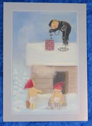 Joulukortti nuohooja ja tontut joulusaunalla