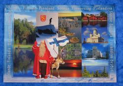 Postikortti maisemia, suomenlippu ja joulupukki