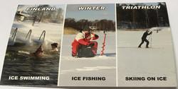Postikortti Winter Finland Triathlon, avantouinti, pilkki, hiihto