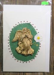 Postikortti enkeli soittaa huilua kullanvärinen, massaa  nro pk128