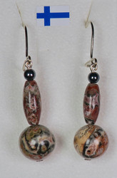 Korvakorut leopardijaspis, hematiitti, koukut 925-hopeaa nro Le5