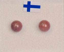 Nappikorvakorut rodoniitti 6mm, 925-hopea