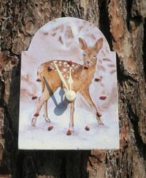 Seinäkello bambi peura poro 15x11cm, tunnin merkit punainen jaspis