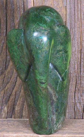 Kiviveistos elefantti, abstrakti, verdiitti-afrikan jade 940g Muvez11