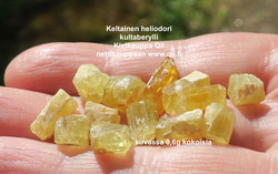 Heliodori kide 1,3-1,7g keltainen kultaberylli Ural Venäjä