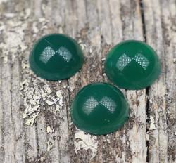 Kapussi akaatti, vihreä 10mm pyöreä cabochon
