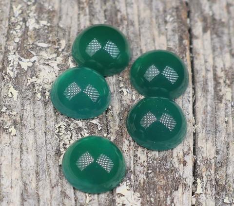 Kapussi akaatti, vihreä 8mm pyöreä cabochon