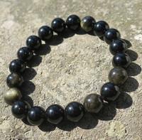 Rannekoru 10mm obsidiaani kullan värinen hohto