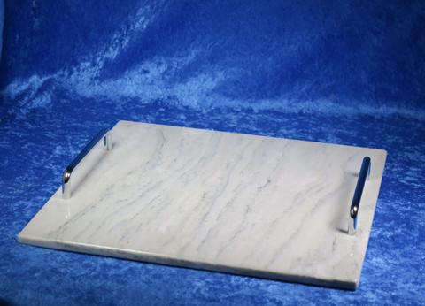 Kivitarjotin marmori 305x305mm, hopean väriset kahvat TR10