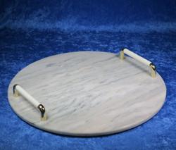 Kivitarjotin marmori pyöreä 295mm kahvat valkoinen,kullanvärinen tr3